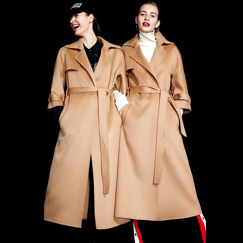 水波纹双面羊绒大衣女修身长款2018秋冬驼色双面昵子羊毛大衣外套