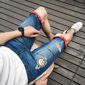 新款牛仔短裤薄款青少年牛仔中裤破洞男装宽松直筒牛仔五分裤潮款