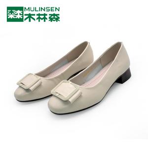 木林森女鞋 2020春真皮圆头低跟女士单鞋浅口工作鞋皮鞋QW8524407