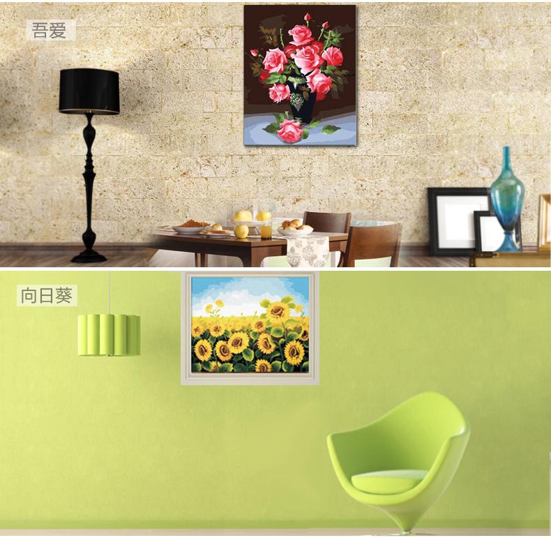 特价客厅装饰风景手绘图有内框