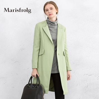 Marisfrolg/玛丝菲尔Marisfrolg-玛丝菲尔女装时尚气质中长款宽松羊毛呢大衣专柜正品