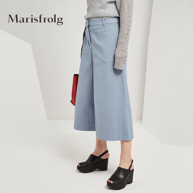 Marisfrolg-玛丝菲尔女装时尚褶边棉质阔腿休闲裤秋新款专柜同款