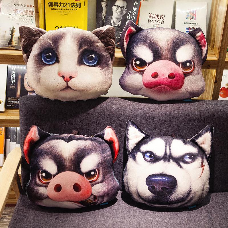 卡通3D印花沙发汽车抱枕被子两用靠垫办公室靠枕空调被折叠创意