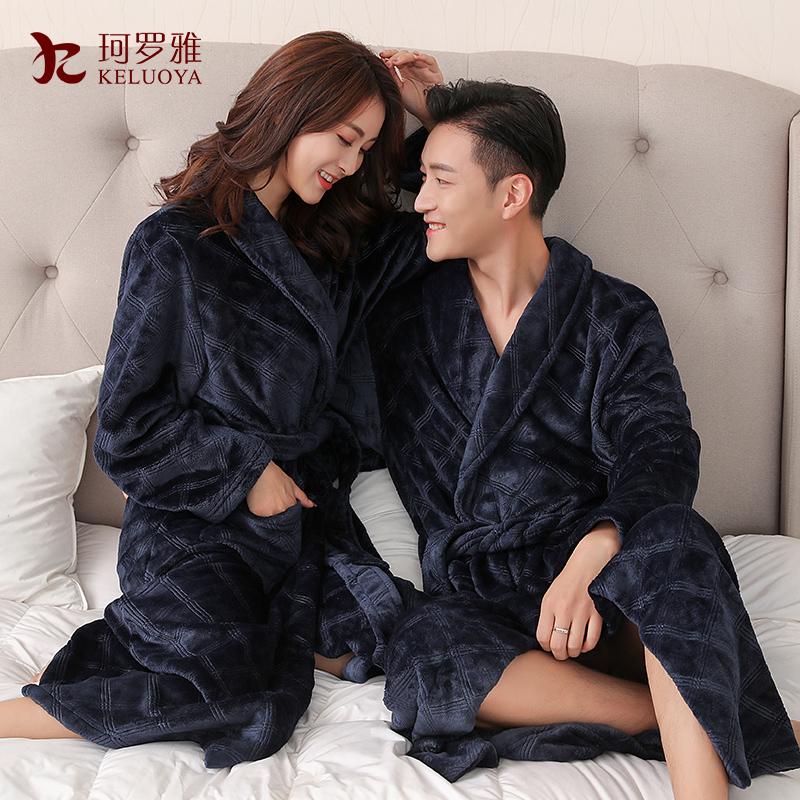 秋冬男女情侣浴衣珊瑚绒法兰绒浴袍加厚加长款大码睡袍睡衣家居服