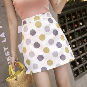 秋季新款网红复古显瘦波点裙高腰包臀半身裙子时尚圆点印花A字裙