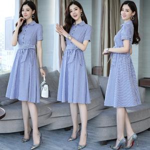 条纹连衣裙女中长款短袖2018夏季新款修身显瘦韩国收腰a型衬衫裙