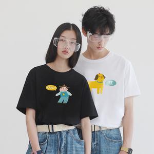 PROD不一样的情侣装春夏装2019新款狗呢在这宽松短袖t恤女上衣qlz