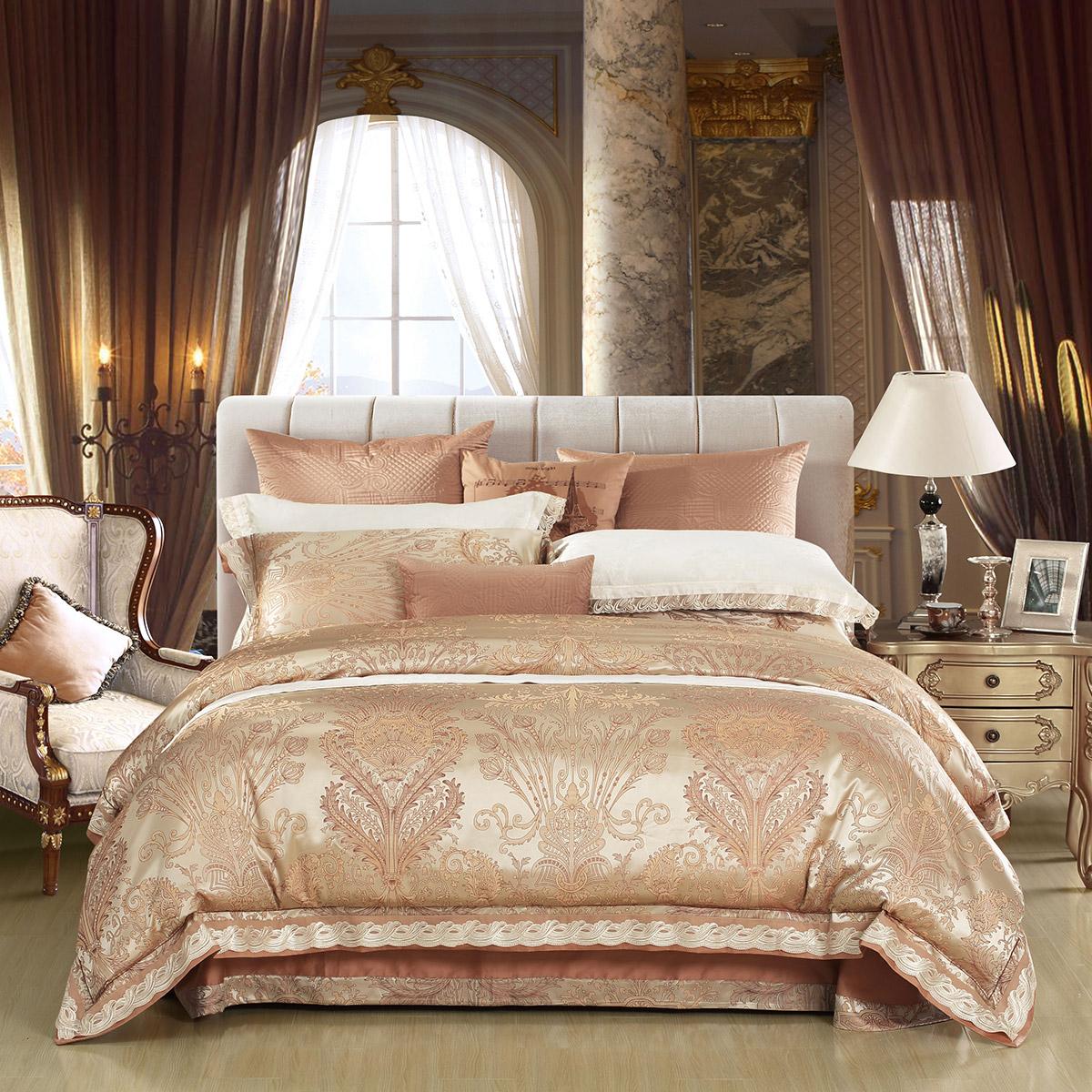 水星家纺莫代尔欧式轻奢大提花四件套双人1.8床单被套情迷柏林