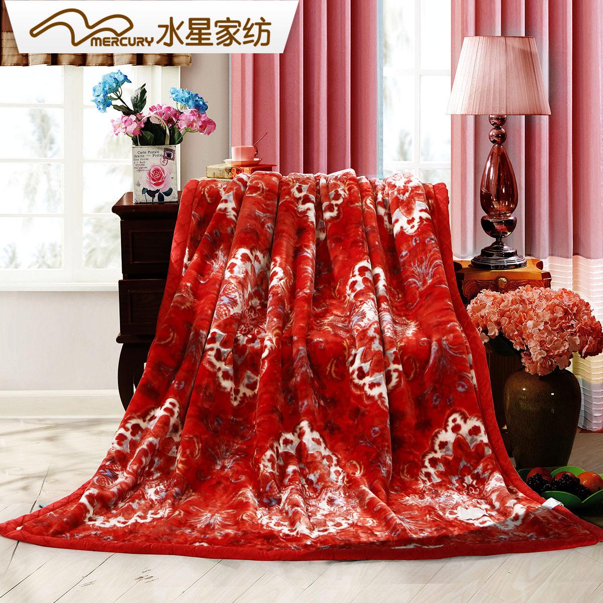 水星家纺拉舍尔毛毯双层加厚保暖毯子单双人春秋冬季盖毯床单被子