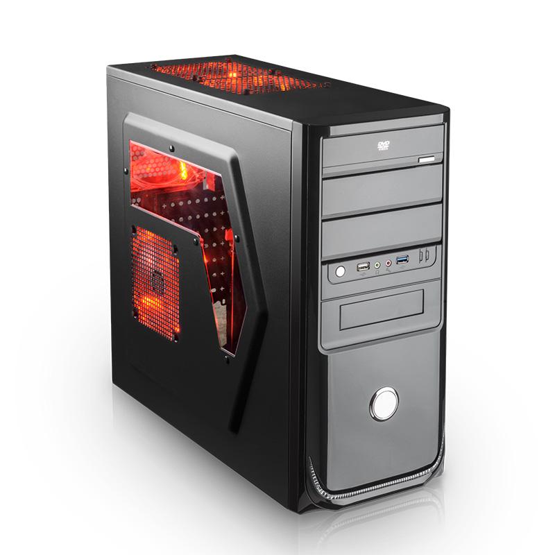 林技955机箱 电脑机箱台式机 usb3.0主机箱背线防尘侧透白色机箱