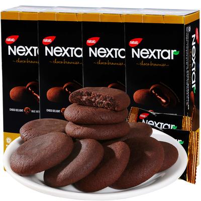 印尼进口零食丽芝士NEXTAR软心趣布朗尼风味注心曲奇饼干112g*4盒