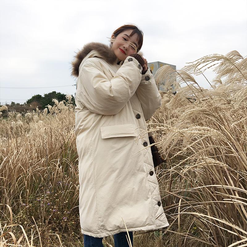 中长款过膝大毛领棉服女2017冬季新款韩版宽松加厚保暖棉衣女外套