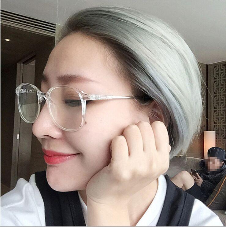 明星同款眼镜女2017新款潮透明近视复古圆脸个性方脸框无镜片架