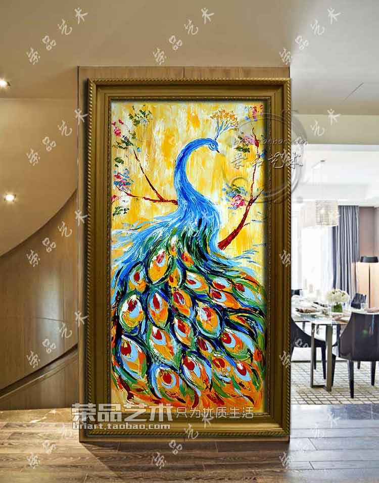 欧式油画厚油孔雀装饰画手绘玄关竖幅过道ktv别墅客厅