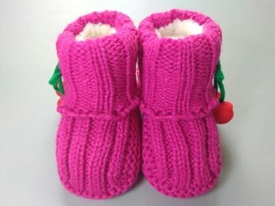 婴儿毛线鞋秋季手工编织袜子0-6-12个月宝宝加绒加厚保暖软底鞋