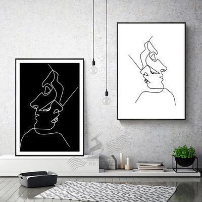 ins抽象线条画 人物图片