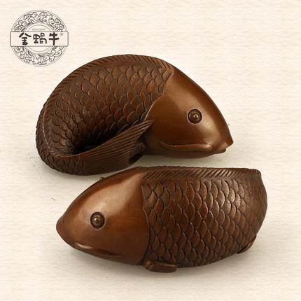 金蜗牛9#如意双鲤紫铜 文玩收藏把玩 吉祥如意摆件 家居饰品 礼品