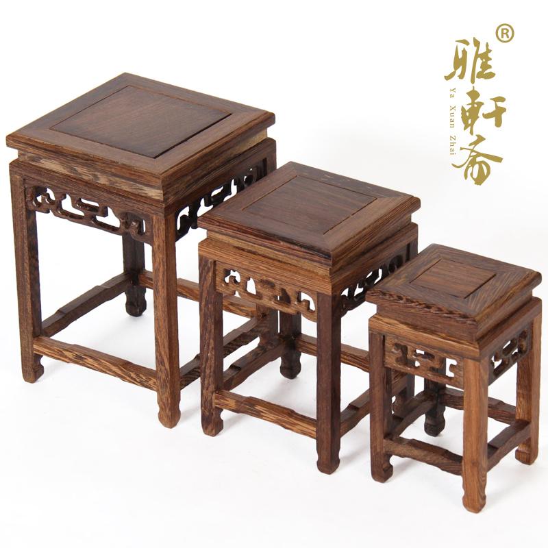 雅轩斋红木鸡翅木底座奇石小花架2012112001