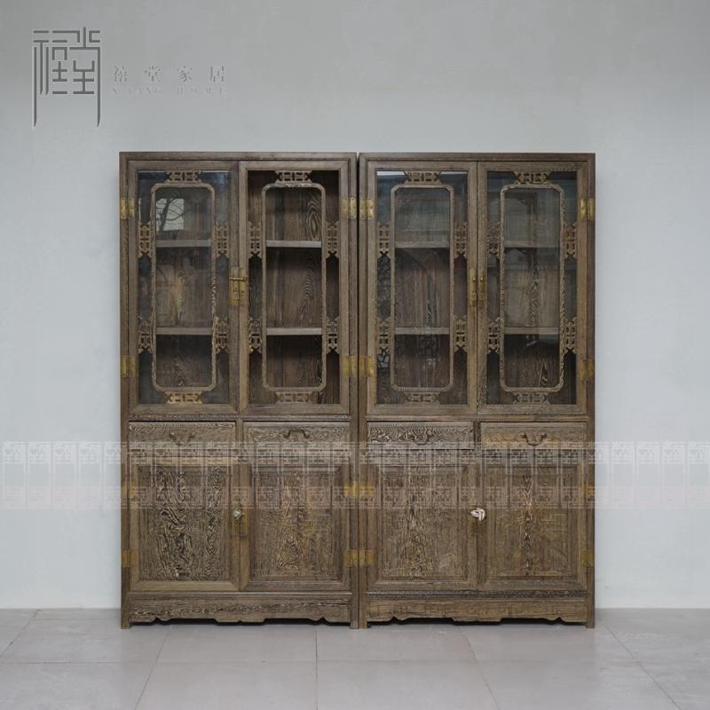 禧堂硬木红木仿古古典家具免漆家具鸡翅木中式书柜书橱书架