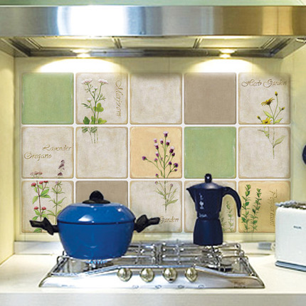 防火防油贴纸防水贴厨房油烟机贴纸铝箔耐高温墙贴瓷砖贴UDA
