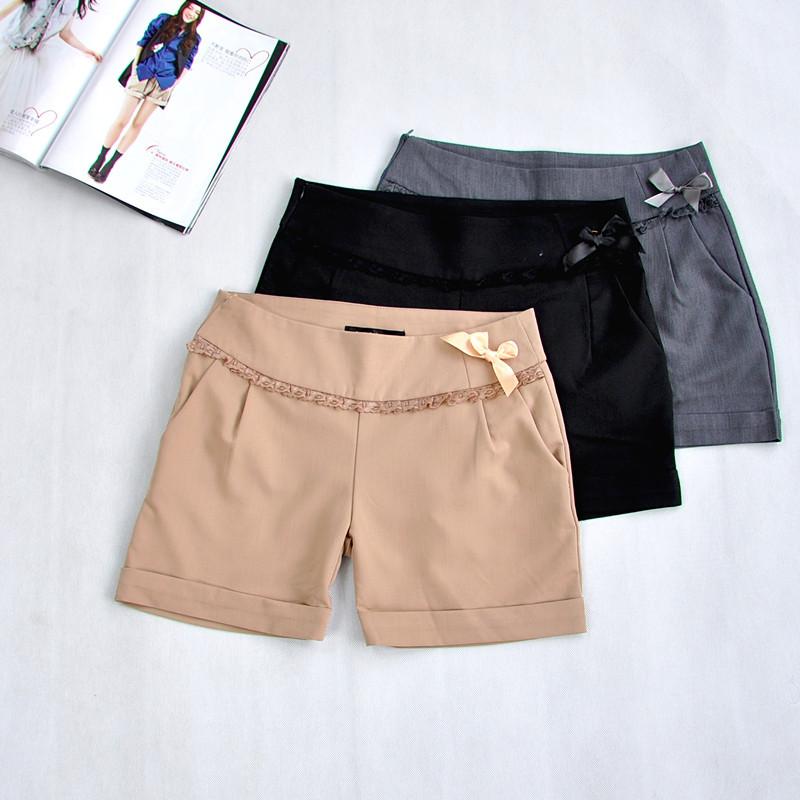 Женские брюки Летнее платье новый тонкий продукт ноги чистый цвет лук Сэн женщин короткие случайные короткие брюки оригинальный сингл оформления