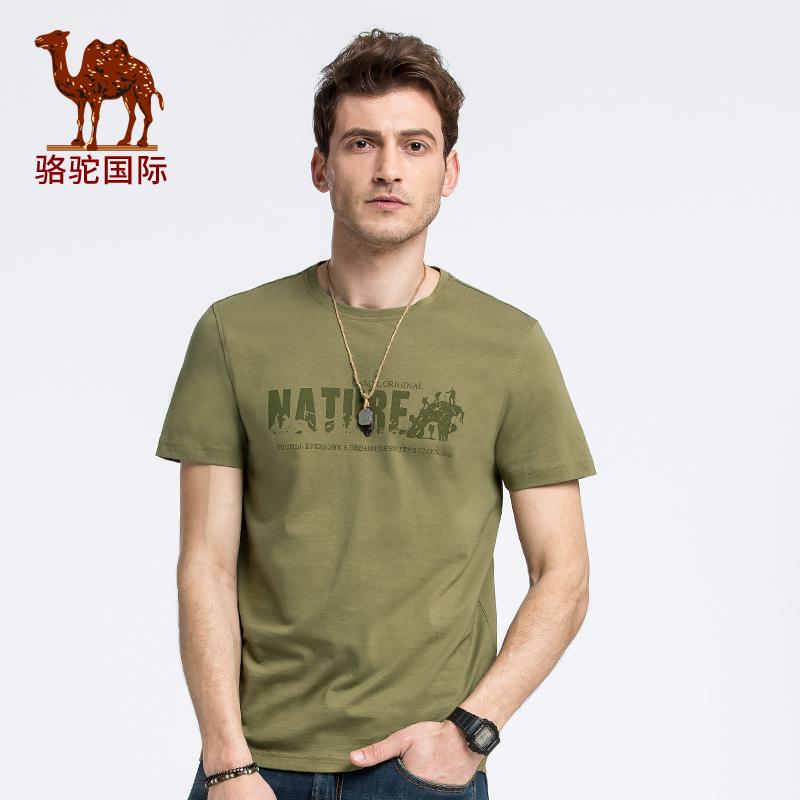 骆驼男装 夏时尚休闲商务青年男装易搭字母印花圆领短袖t恤棉上衣