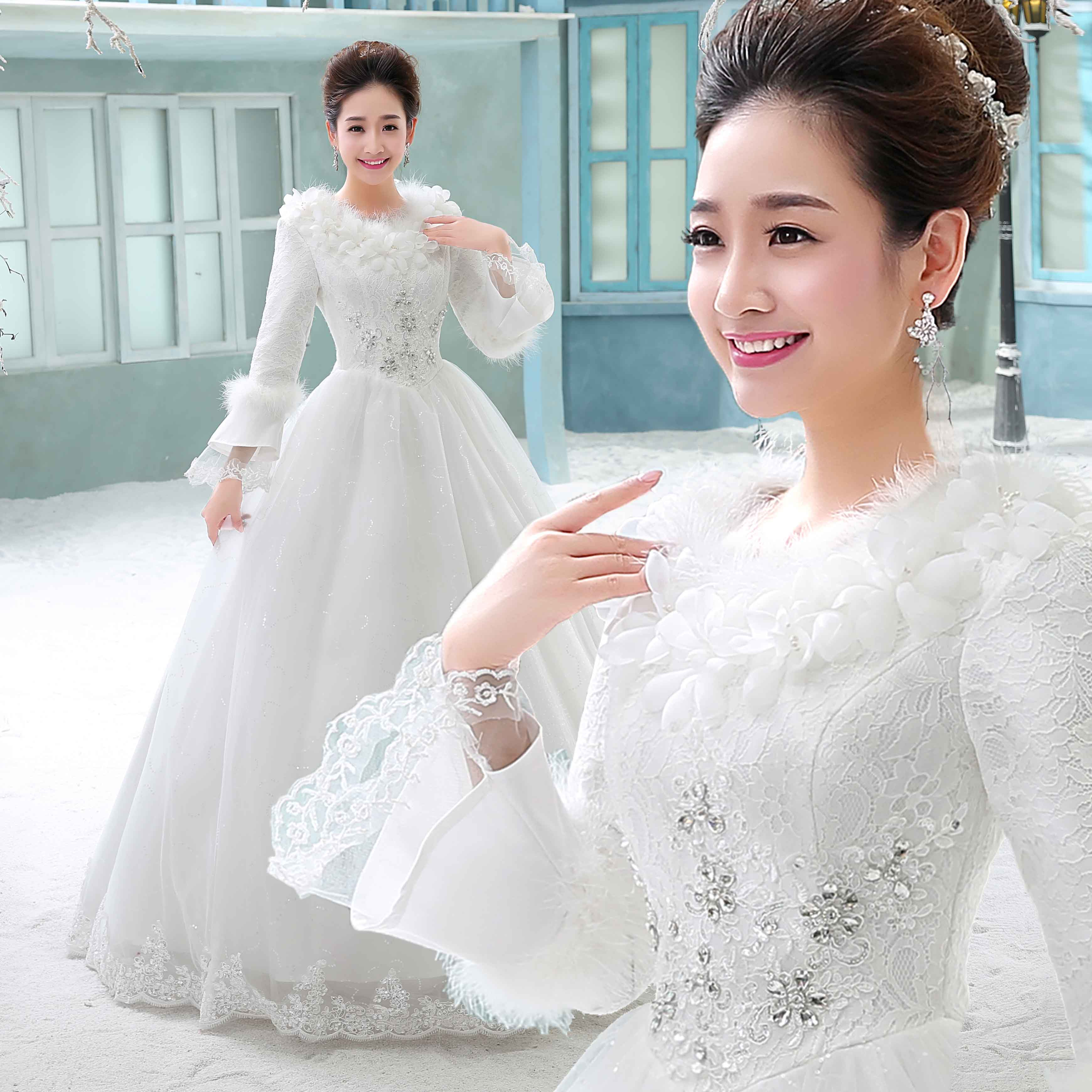 Wedding dress 2018 new autumn and winter bride married long-sleeved ...