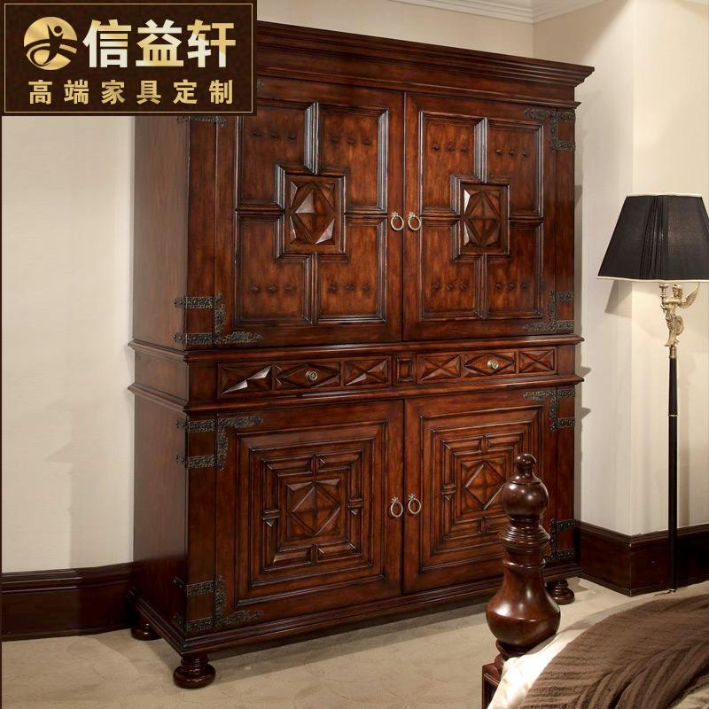 信益轩家具美式实木衣柜推拉门YF-0680