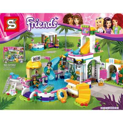 拼装心湖屋子兼容乐高女孩子系列夏日城积木游泳池房玩具益智搭建小孩子吃玩具小塑料图片