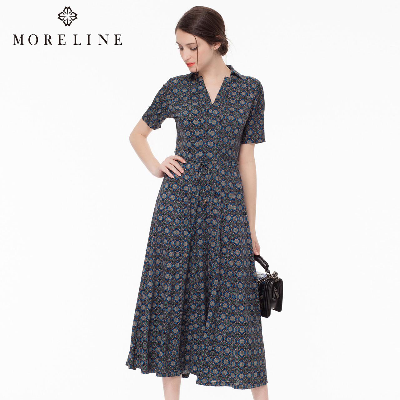 MORELINE沐兰夏季时尚气质名媛熟女v领短袖针织碎花连衣裙1322413