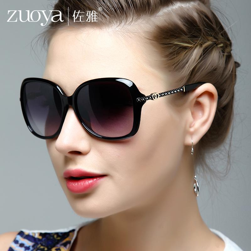 佐雅太阳镜 女 偏光镜 2018新款时尚优雅圆脸大框水钻开车墨镜