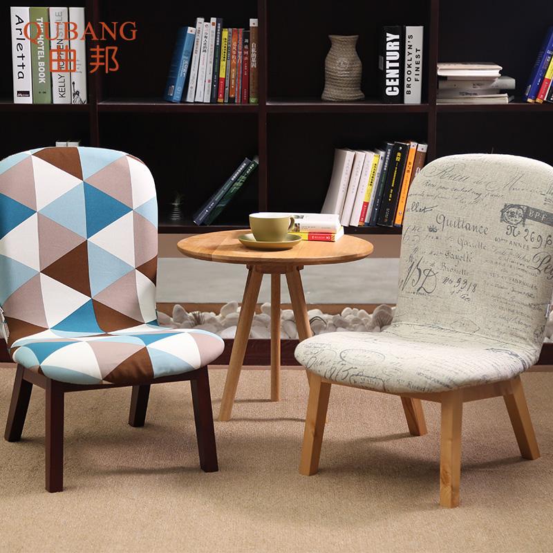 实木矮凳布艺靠背椅子家用换鞋凳飘窗懒人休闲沙发凳日式矮椅特价
