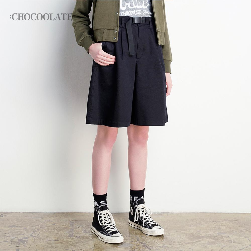: CHOCOOLATE女装春夏纯色收腰休闲阔腿五分裤5521X88