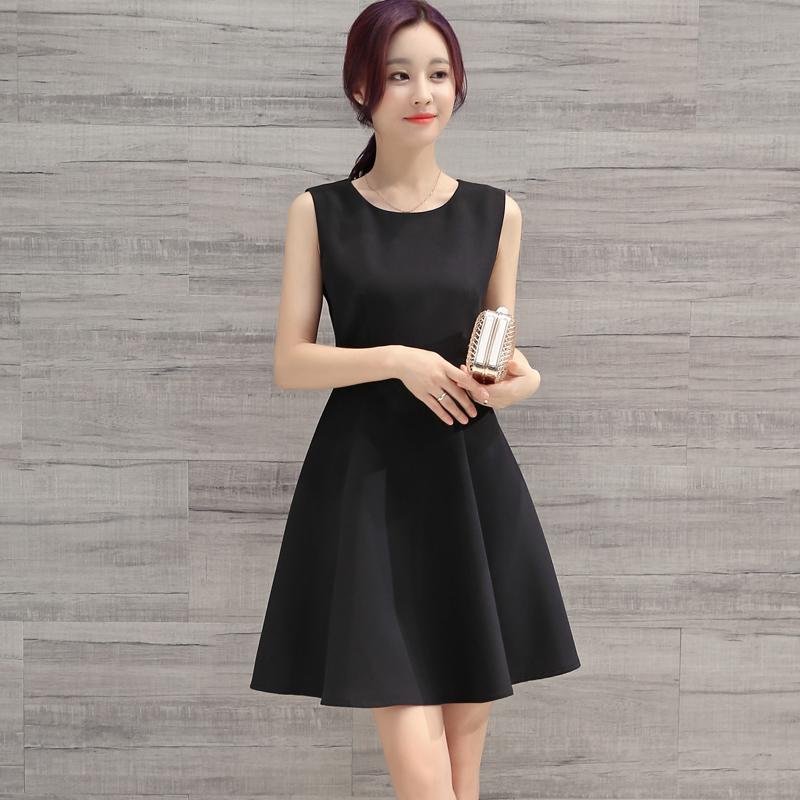 6新款韩版夏季连衣裙女修身中长款气质百搭大码黑色显瘦裙子夏
