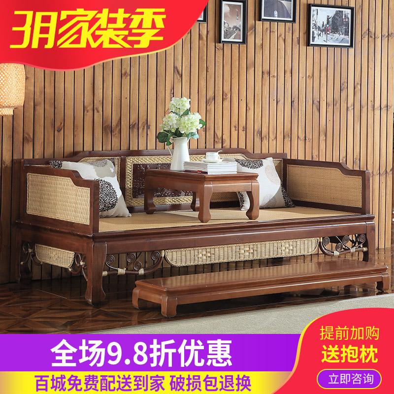 月影荷塘东南亚实木沙发YL1007