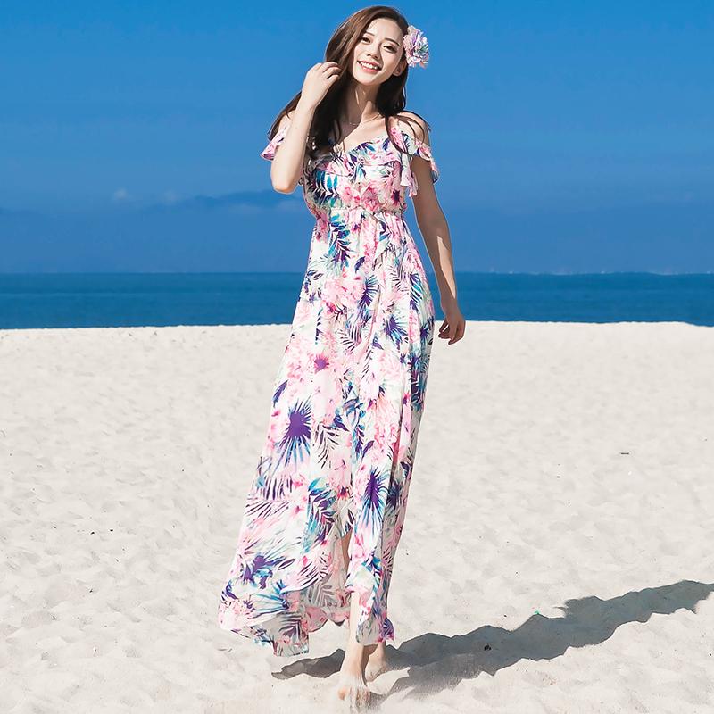 夏季吊带长裙波西米亚长裙海边度假沙滩裙不规则裙摆花雪纺连衣裙