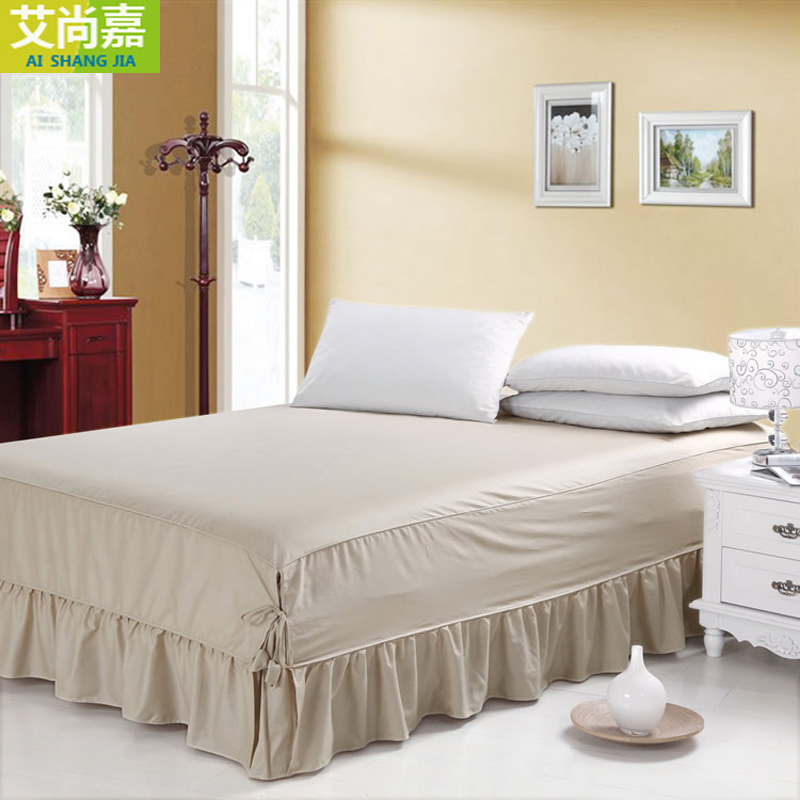 全棉床罩床裙式单件防滑纯棉1.5米1.8m床笠床套纯色双人2m可定做