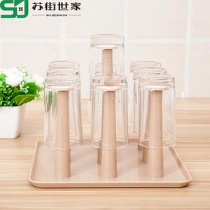 玻璃杯架水杯挂架茶杯架收纳架沥水杯架创意水杯架子置物架沥水盘