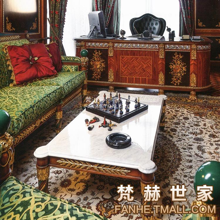 梵赫英式大理石面实木茶几f29121