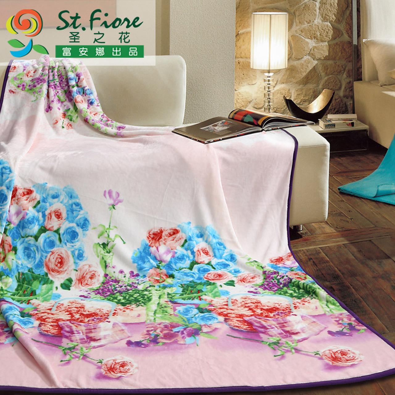 富安娜圣之花家居1.5m1.8米春秋薄毛毯940100046
