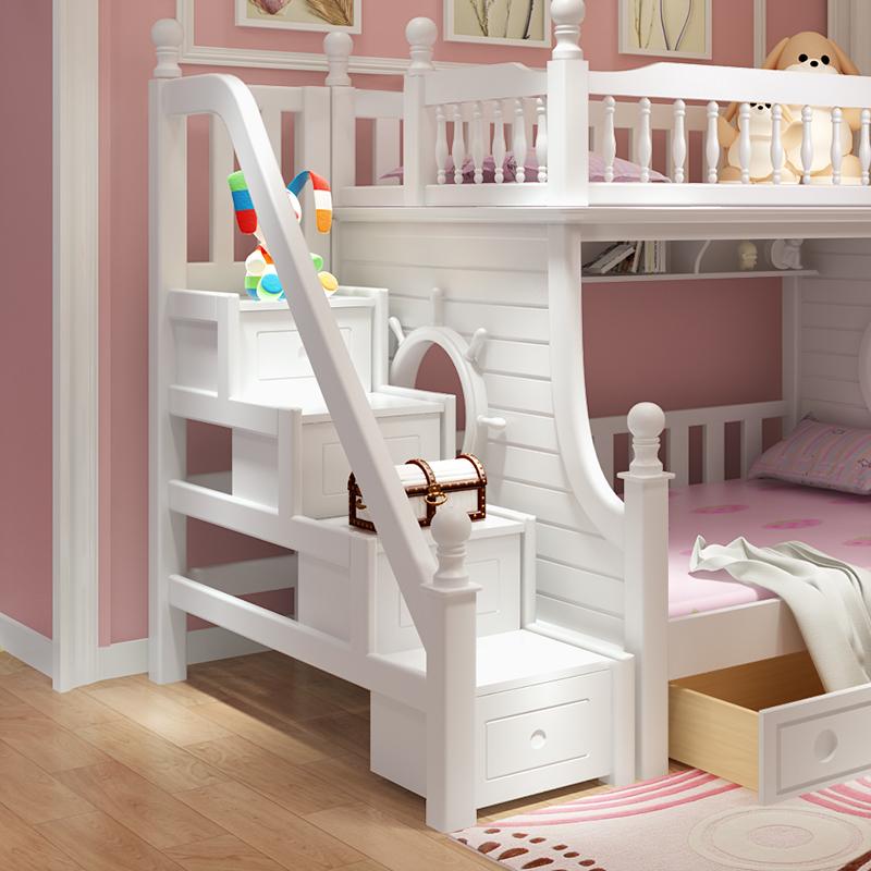 davidbenz儿童床上下床双层床T01全白配套梯柜
