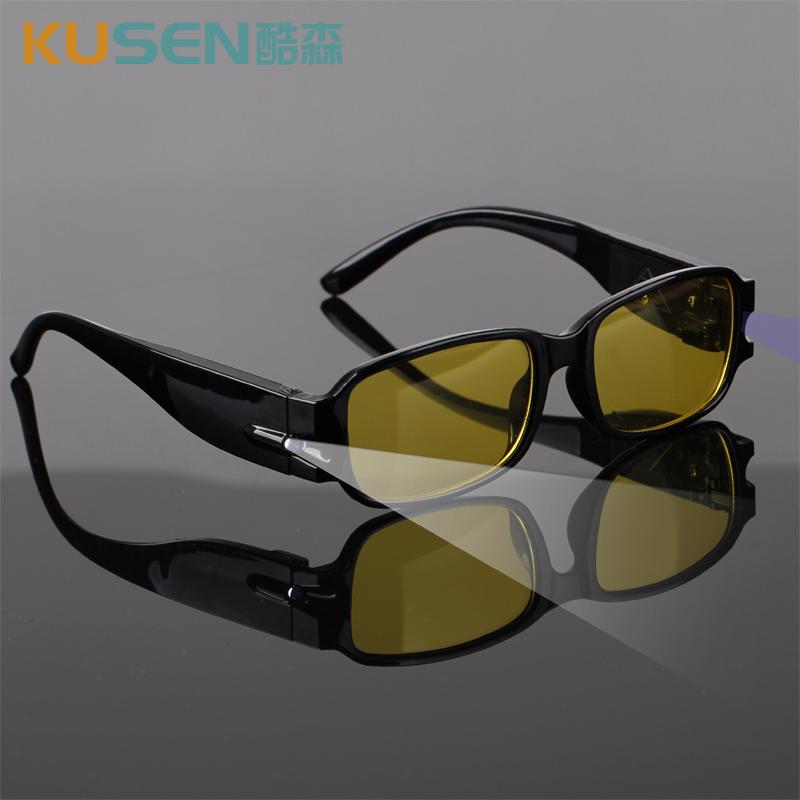 轻便磁疗多功能带灯老花镜 验钞照明LED老花眼镜远视镜夜视平光镜