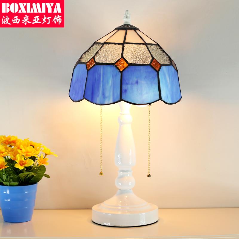 波西米亚台灯蓝白罩台灯T7090