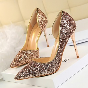868-8 European and American wind sexy nightclub show thin shoes high heel with shallow pointed mouth side hollow out seq