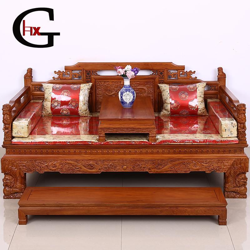 hxg红木家具仿古雕花实木罗汉床独板罗汉床