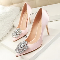 516-5 han edition diamond shoes high heel with sexy thin shallow pointed mouth shining diamond buckle shoes