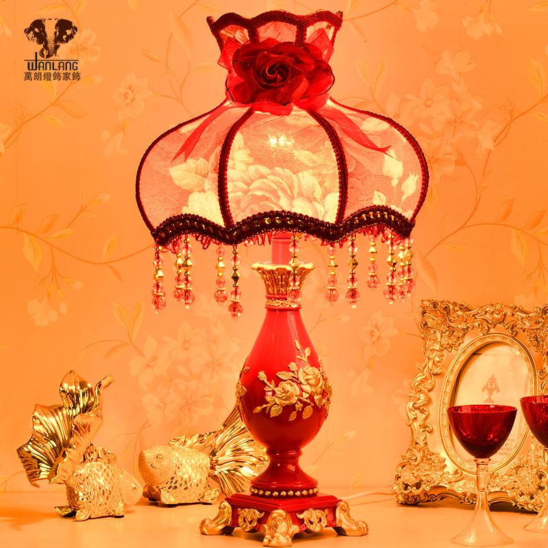 wanlang欧式红色床头台灯5068
