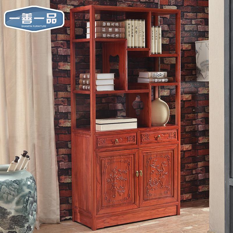 一善一品实木书柜中式榆木书架F2033