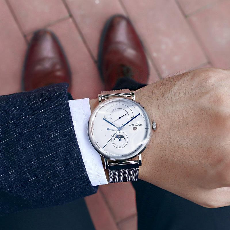 邦顿手表男士机械表全自动防水大表盘学生潮流时尚款钢带正品男表