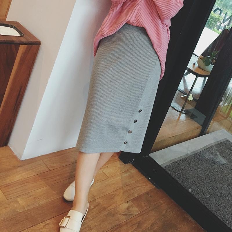 【摩妮卡大码女装】大码胖妹妹显瘦灰色中长款针织半身裙